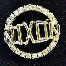 Sears Vintage 1968 Nixon Pin Rhinestone Silver Tone Metal F10