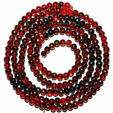 G3914L Red Metallic Drawbench Swirl 4mm Round Crackle Glass Beads 32""