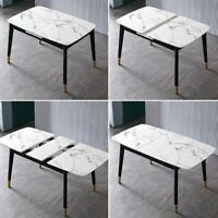 "New 55"" to 71"" Extendable Dining Table Rectangular Faux Marble Top Black Legs US"