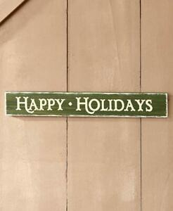 """Antique Distressed Finish """"HAPPY HOLIDAYS"""" Wooden Christmas Wall Sign"""