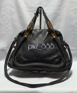 CHLOE Paraty 2 Way Medium Black Leather Shoulder Bag