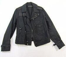 $1295 Ralph Lauren Black Label Moto Leather Nylon Blend Spring 2 Jacket Sz S NWT