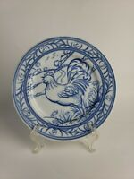Williams-Sonoma Brittany Salad Plate Blue & White  Rooster  Made in Japan