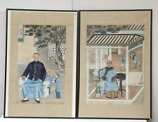 Pair of Antique Chinese Portrait Painting on Silk Fabric, Early 20th c