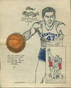 ORIGINAL 1949 ALEX GROZA KENTUCKY WILDCATS COLLEGE BASKETBALL DRAWING