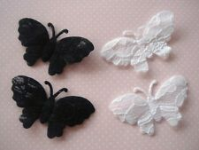 """60 Black & White Lace 2"""" Wing Butterfly Applique/motif/trim/dress/sewing/Sew L59"""