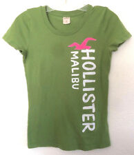 Hollister CA Women's M GREEN TEE SHIRT w/ Graphic, Short Sleeves, Jewel Neckline