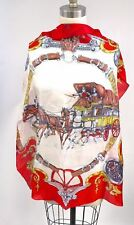 Vintage Silk Theme Scarf Messageries Royales French Medal Red Gold 29x31