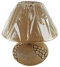 """Ceramic 9"""" Table Lamp & Shade Wood Look Round Finish Night Stand Counter U/L"""