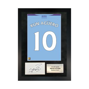 Authentic hand-signed A3 Frame Sergio Aguero Manchester 19/20 Shirt Poster W/COA