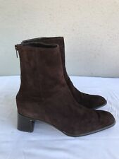 EUC DKNY BROWN SUEDE US 7.5M HEELS ANKLE STRAPS BACK ZIP SHOES ANKLE BOOTS B