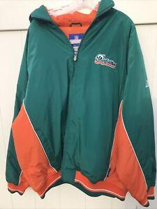 Miami Dolphins Reebok On Field Apparel Hooded Jacket VTG Dolphin Logo NWT 2XL FS
