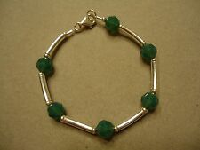 Sterling Silver 925 Iridescent Green Crystal Bead & Silver Curved Tube Bracelet