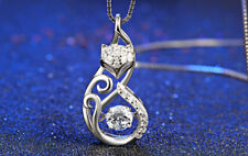 Sterling Silver Necklace Fox Charm Cubic Zirconia Pendant Genuine 925 Jewelry