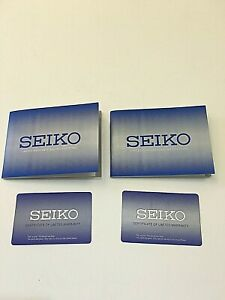 LOT 2    GENUINE  SEIKO WATCH    WARRANTY CARD  and  INSTRUCTIONS BOOKLET    NEW