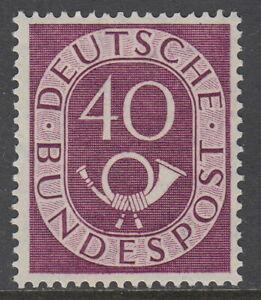 1951, Posthorn, 40 Pf. dunkelgraulila,** Prachtstück Mi.Nr.133 ** Mi.140 €  #706