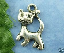 10 Tibetan Silver Cat Pendant Charms 21mm
