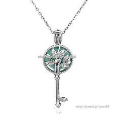 Necklace Women Pearl Cage Steel Chain K29 Silver Plant Leaf Tree Locket