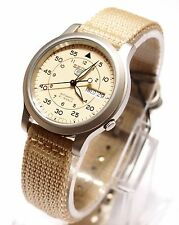 SEIKO 5 SNK803K2 Fabric Band Automatic Men's Tan Watch 100% New & Gift