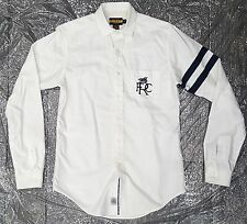 RALPH LAUREN RUGBY RARE ARM 2 STRIPE BUTTON DOWN SHIRT WHITE SIZE SMALL