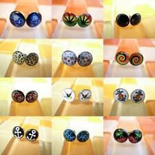 20g 0.8mm Multiple Pattern Select Hot Men Women Fake Ear Plugs Earrings Stud