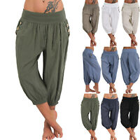 Women Loose High Waist Thin Pants Elastic Waist Trousers  Loose Pants Plus Size
