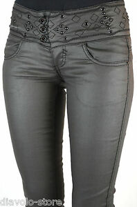 Blue Rags Damen Hose Jeans Nieten Leder-Optik black dark pants