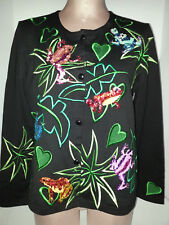 MICHAEL SIMON Womens Cardigan Button Front Blouse Shirt Sz Medium Black Frogs
