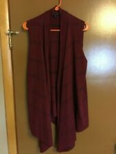 TOMMY HILFIGER SIZE L BURGUNDY MAROON SWEATER LONG OPEN FRONT VEST VERY NICE !!