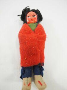 "Vintage Kookum Bully Good handmade Indian Doll 7"" circa 1920s"