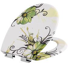 Asiento de WC taza wáter tapa para retrete cierre amortiguado inodoro flores