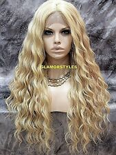 Long Spiral Curls Blonde Mix Lace Front Full Wig Heat Ok Hair Piece #FS613.27