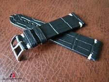 Cinturino vintage in stampa alligatore nero ansa 22mm watch strap band correa