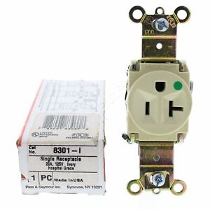 New Pass & Seymour Ivory HOSPITAL Receptacle Single Outlet 20A 125V 5-20R 8301-I