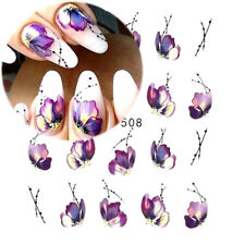 Nail Art Water Decals Stickers Transfers Deep Purple Flowers Petals Floral (508)