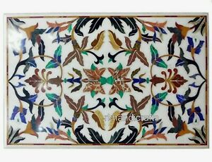 30 x 48 Inch Marble Dining Table Top Handmade Coffee Table with Pietra Dura Art