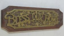 """Vintage """"Bless Our Home"""" Brass Color Metal / Wooden Wall Hanging Sign 17x5.5 i16"""