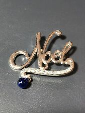 Holiday Christmas Noel Silver Tone Brooch Pin With Blue Ball And Rhinestones