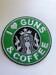 GUNS and Coffee morale patch iron on starbucks tactical military I love 89