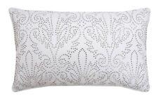 "Thro By Marlo Lorenz Juliana Silver Studded Damask Pillow 14"" x 20"" Nwt"