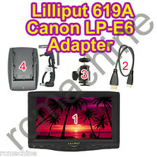 "2013 Lilliput 7""619A 1080P HD HDMI field Monitor+LP-E6 adapter for Canon 5D III"