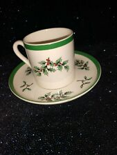 Spode Flat Demitasse Cup & Saucer Set By Spode Christmas Tree Green Trim