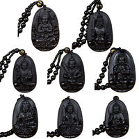 Natural Obsidian Folk Hand Carved Buddha Lucky Amulet Talisman Pendant Neckla ZY