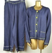 FLAX M 100% Linen Indigo Button Top & Loose Pants Suit 2 Piece Set Navy