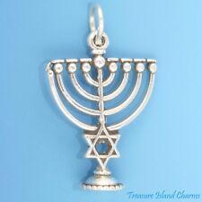 Hanukkah Chanukah Menorah Judaic Jewish 3D .925 Sterling Silver Charm Pendant