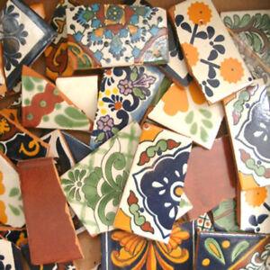 10 Pounds of Broken Talavera Mexican Ceramic Tile in Mixed Decorative Designs #2