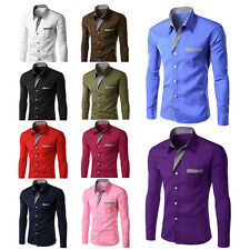 Long Sleeve Men Shirts Slim Fit Chemise Design Casual Trendy Shirts for Male