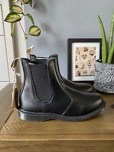 Dr Martens Vegan Flora Chelsea Boots Size UK 8 EU 42 BNIB Faux Black Leather