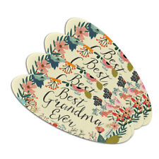 Best Grandma Ever Floral Double-Sided Oval Nail File Emery Board Set 4 Pack