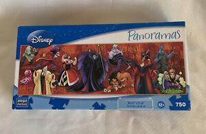"Disney Panoramas Villains 750 piece Jigsaw Puzzle 11""x36"" New Sealed bag"